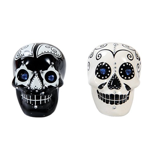 Day of Dead Black & White Set With Rhinestones