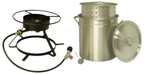 Read About King Kooker 5012 Portable Propane Outdoor Boiling and Steaming Cooker Package with 50-Quart Aluminum Pot and Steaming Basket