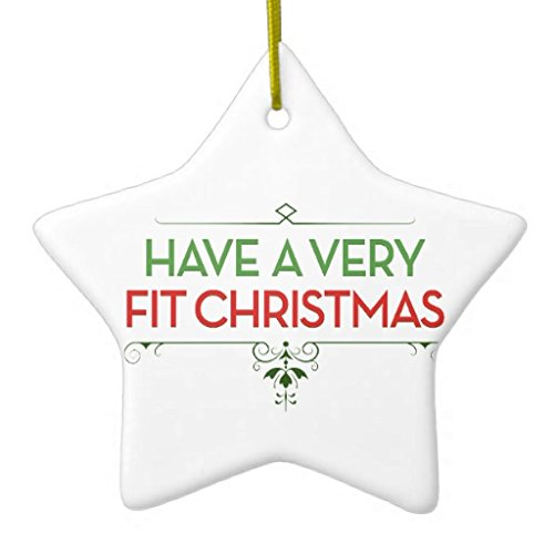 Christmas Ornaments Have a Very FIT Christmas Fitness Motivation Holiday Tree Ornament Both Sides Star Ceramic Ornament Crafts Christmas Gifts