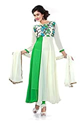 Siya Fashion women's Georgette Party Wear Unstitched Dress Material(si201_green And White color)