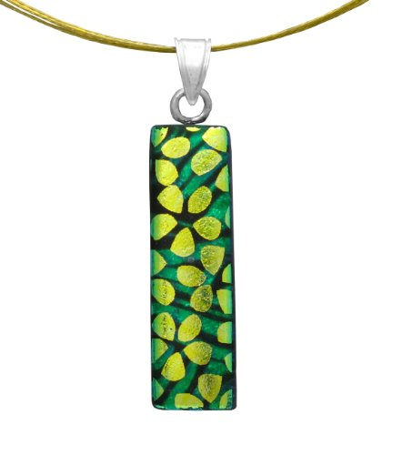 Sterling Silver Dichroic Glass Flowers on Green Swirls Pattern Rectangular Pendant Necklace on Stainless Steel Wire, 18