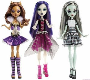 Monster High Ghouls Alive Set of All 3: Howling Clawdeen, Shrieking Spectra, Electrified Frankie