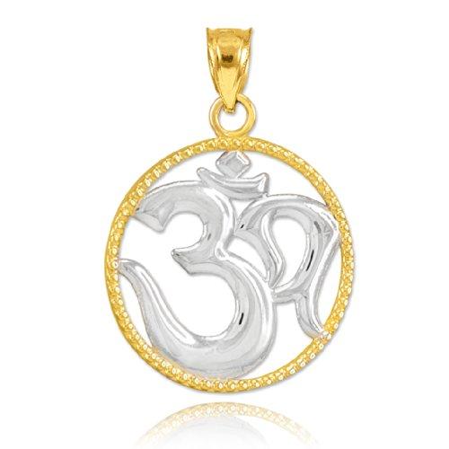 Fine 14K Two-Tone Gold Round Milgrain-Edged Medallion Yoga Charm Om Pendant
