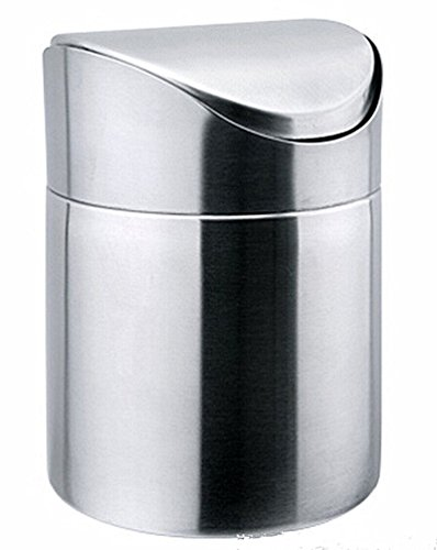 Fashionclubs Stainless Steel Desk Trash Bin,Countertop Trash Can 1.5L (silver) (Desktop Trash Can compare prices)