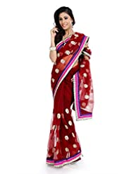 Red Wedding Wear Saree Indian Designer Embroidery Bollywood Net Sari
