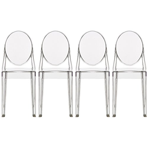 2xhome - Set of Four (4) - Clear - Victoria Style Ghost Side Chairs - High Quality Dining Room Chairs - Victorian Accent Seat - Lounge No Arm Arms Armless Less Chairs Seats Higher Fine Modern Designer Artistic Classic Molded Contemporary Crystal Clear Transparent Poly-carbonate Plastic