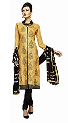 Khoobee Presents Embroidered Chanderi Dress Material (Yellow,Black)