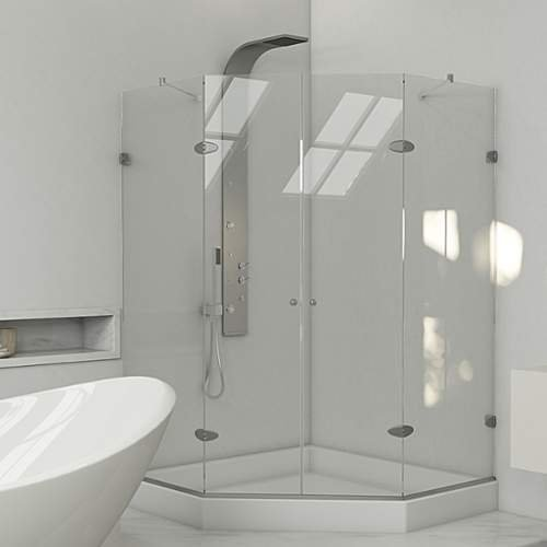 VIGO-Gemini-47625-x-47625-in-Frameless-Neo-Angle-Shower-Enclosure-with-375-in-Clear-Glass-and-Brushed-Nickel-Hardware-Shower-Base-Included