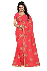 MAKEWAY Embriodery work Faux Georgette Saree