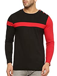 Gritstones Round Neck Full Sleeve T Shirt GSFSTSHT1299BLKRD_L