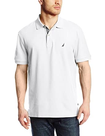 Nautica Men's Short Sleeve Solid Deck Polo Shirt, Bright White, Small