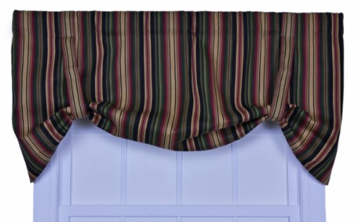 Ellis Curtain Montego Stripe Tie-Up Valance Window Curtain, Black
