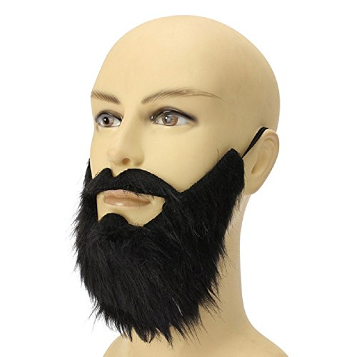 [Funny Costume Party Male Man Halloween Beard Facial Hair Black Mustache] (Road Sign Halloween Costumes)