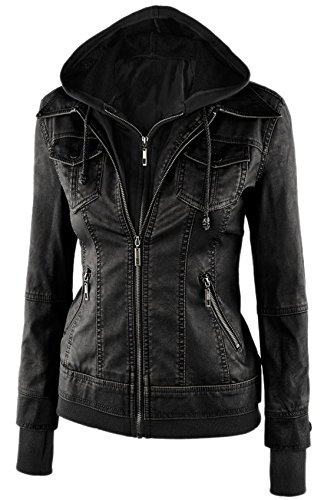 Chouyatou Womens Removable Hooded Faux Leather Motorcycle Bomber Jacket (Medium, Black) (Faux Leather Removable Hood compare prices)