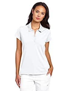adidas Golf Women's Climalite Solid Jersey Polo, White/Black, Medium
