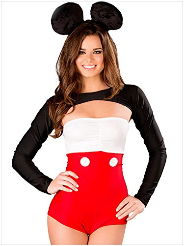 RANOGI Women's Long Sleeves Miss Mouse Halloween Costume Cosplay,Red,One size