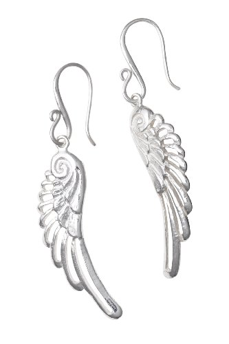 Dower  &  Hall, Angel - Solid Sterling Silver Filigree Angel Wing Drop Earrings