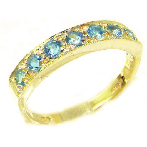 Solid 9ct Gold Ladies Natural Blue Topaz Eternity Band Ring - Size X 1/2 - Finger Sizes K to Y Available - Perfect Gift for Mum, Daughter, Grandaughter, Bridesmaids