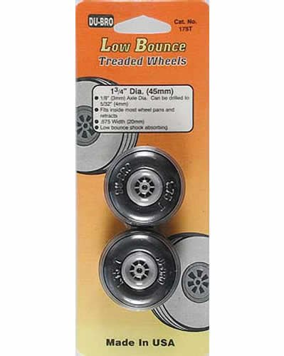 Low Bounce Treaded Wheels 1.75in Diameter (2)