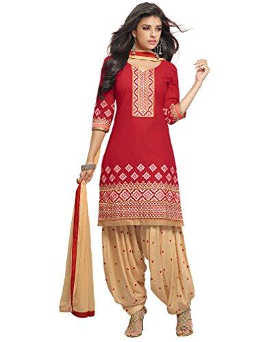 KVS FAB Red Beige Cotton Patiala Salwar Suit