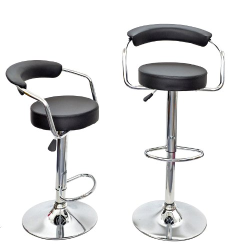 1 x bar stool upholstered bar stool bar chair kitchen chair in black leather with chrome armrests and footrest