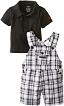 Calvin Klein Baby-Boys Newborn Polo Top with Plaided Shortall, Black, 0-3 Months