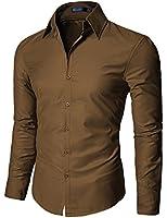 Doublju Mens Dress shirts with Shinning Fabric