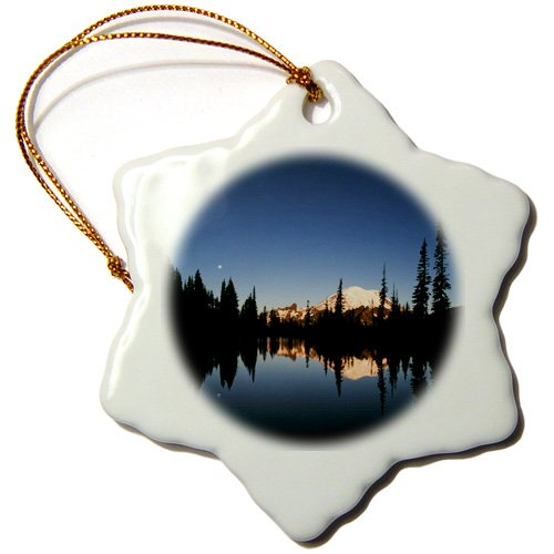 Orn_147764_1 Danita Delimont - Lakes - Upper Tipsoo Lake, Mt Rainier Park, Washington, Usa - Us48 Aje0060 - Adam Jones - Ornaments - 3 Inch Snowflake Porcelain Ornament back-395103