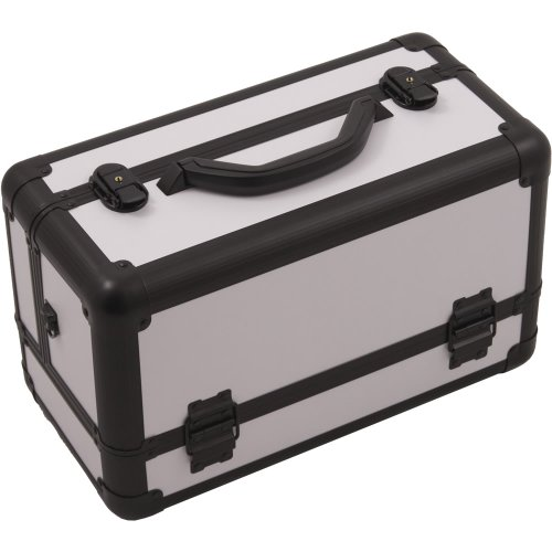 Hiker 3-Tier Extendable Trays Pro Cosmetic Makeup Case with Brush Holder, White Smooth