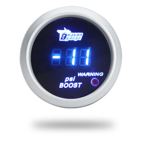 Thg 52Mm Digital Blue Led Universal Fit Automobile Racing Smoke Turbo Boost Gauge Meter With Sensor For 12V Car Auto Motor Suv Truck