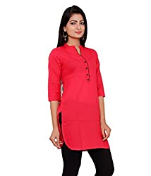 Aira Fashions Women's straight Cotton Kurti (AF-RD-205_Red_X-Large)