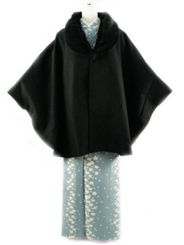 hiromichi nakano ヒロミチ ナカノ 着物用 ポンチョ風ケープ ファー付き ブランド コート (ブラック)