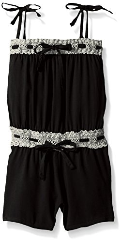 Limited Too Big Girls' Solid Rayon Romper with Eyelet Trim, Black, 10/12