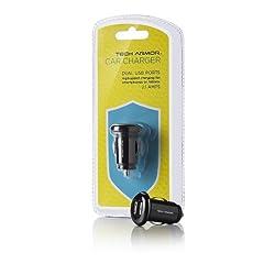 Tech Armor Dual USB Car Charger 2.1 Amps, 10 Watts, 5V DC [Black]