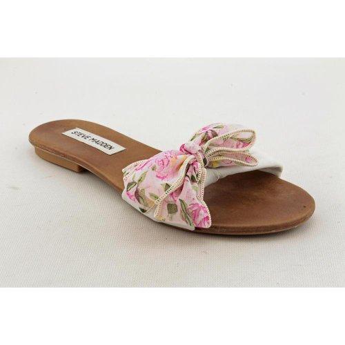 Steve Madden Boww Tie Open Toe Flip Flops Sandals Shoes White Womens