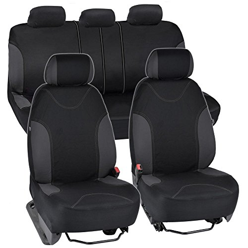 BDK Charcoal Trim Black Car Seat Covers with Split Option Bench, 5 Headrests Front & Rear Bench, 9pc Set (Toyota Tacoma Custom Seat Covers compare prices)