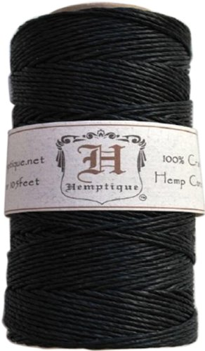 Hemptique Hemp Cord Spool, 20-Pound, Black