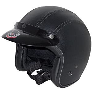 Core Vintage Open Face Helmet (Black Leather, Large) from Core