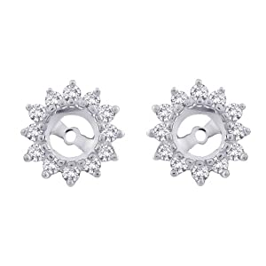 14K White Gold 1/2 ct. Diamond Earring Jackets (Higher Quality)