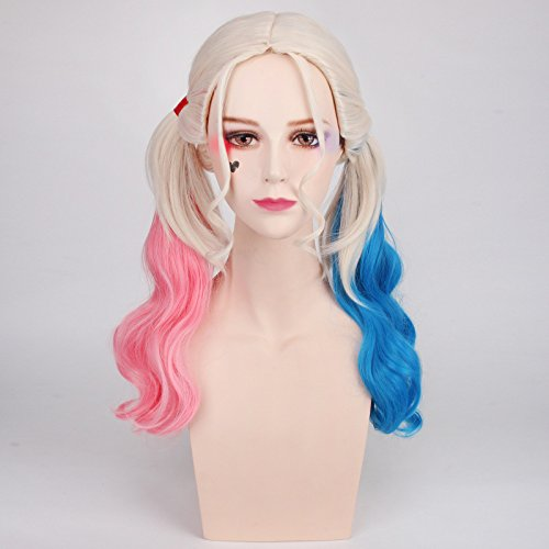 187 Chanecci Wavy Curly Cosplay Wigs With Long Ponytail For