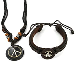 "Peace Sign Bracelet and Necklace Set - Adjustable Sizes - 20"" 3-tone Necklace with Extender - Dark Tone Bracelet"
