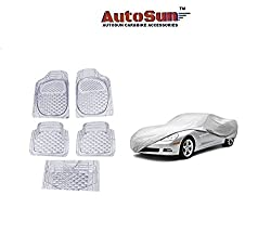 AutoSun Car Body Cover/ Car Foot Mats Set of 5 Pc White Maruti Suzuki - Alto (Old)