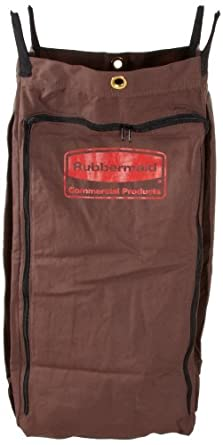 Rubbermaid Commercial Executive Series FG9T0400BRN Canvas Linen Accessory Bag for Full Size and Compact Housekeeping Carts, Brown