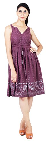 The-Standards-Womens-100-Cotton-Sleeveless-Deep-V-Neck-Elastic-Waist-Cocktail-Party-Knee-Length-Maxi-Maroon-Printed-Dress