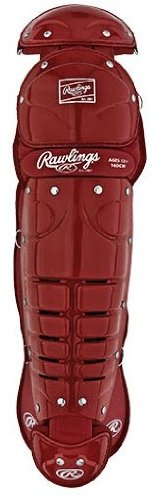 Rawlings 16DCW Adult Double Knee Leg Guards (15 1/2 Inch Length) - Cardinal Red