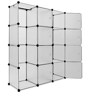 Armoire penderie cubes etagere rangement plastique modulables cadre en m tal - Cubes rangement modulables ...
