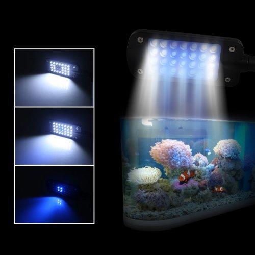 Gadgetzone(Us Seller) 28 Led 2W White Blue Light Fish Tank Aquarium Clip Lamp Adjustable Soft Arm 3 Mode For 30-50Cm Tank Lighting