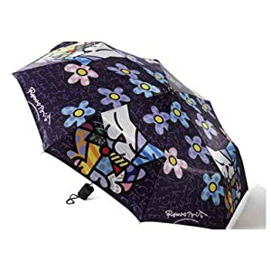 Romero Britto Travel Size Umbrella Cat/Flower