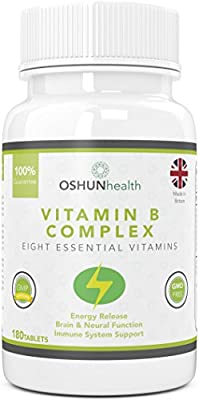 Vitamin B Complex Tablets | 180 Pills Six Month Supply | 100% Daily Allowance for all Eight B Vits | B1, B2, B3, B5, B6, B7 (Biotin), B9 (Folic Acid) and B12 | Supplement for Energy Release, Immune Support and Brain Function | OSHUNhealth