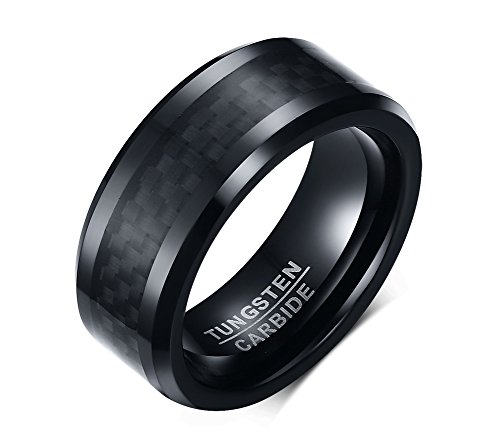 SOL Rings Tungsten Wedding Band For Men, 8mm Black Tungsten Carbide Ring with Carbon Fiber Inlay and Polished Finish Beveled Edges, Comfort Fit, size 9 (Carbon Fiber Stainless Steel Ring compare prices)